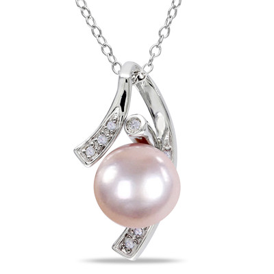 9 - 9.5mm Pink Freshwater Cultured Pearl and Diamond Pendant with Chain in Sterling Silver