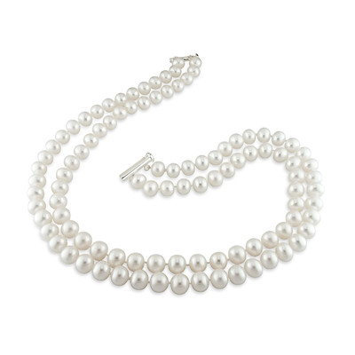 9 - 10 MM Freshwater Cultured Pearl 2-Strand Necklace with Sterling Silver Clasp