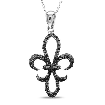 1/4 CT TW Black Diamond Fleur-de-Lys Pendant with Chain in Sterling Silver with Black Rhodium