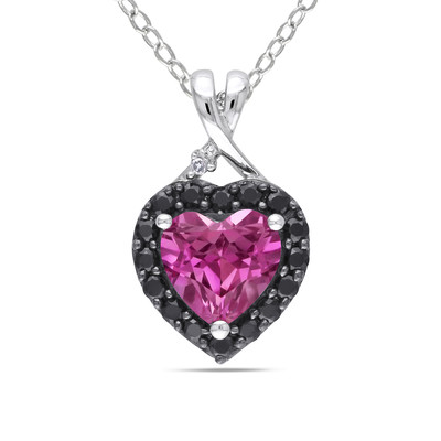 Created Pink Sapphire, Black Spinel and Diamond Heart Halo Pendant with Chain in Sterling Silver with Black Rhodium