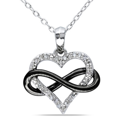 1/10 CT TW Diamond Heart Infinity Pendant with Chain in Sterling Silver with Black Rhodium