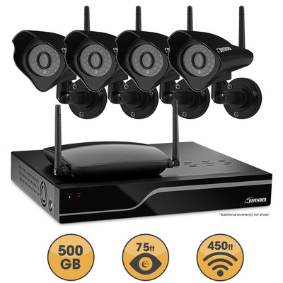 Defender Sentinel Wireless 4 CH 1TB DVR with 4 Wireless 520TVL Cameras with 75ft Night Vision (061783258057)
