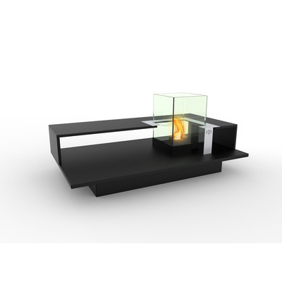 Level Indoor Bio Ethanol Coffee Table Fireburner In Black Textured