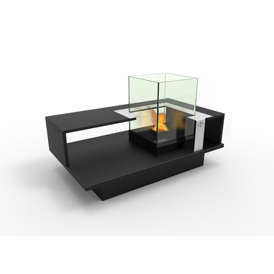 Level Compact Indoor Bio Ethanol Coffee Table Fireburner In Black Textured