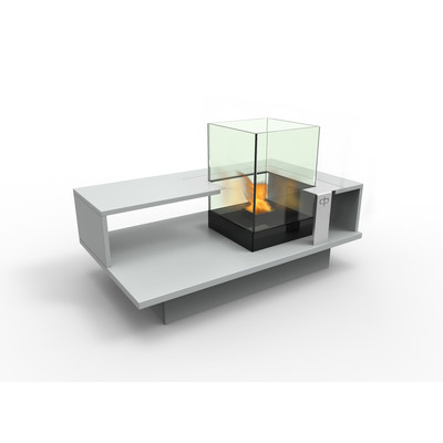 Level Compact Indoor Bio Ethanol Coffee Table Fireburner In Silver Grey