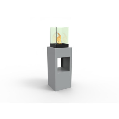 Vertikal Bio Ethanol Fireburner Stand and Display Unit In Silver Grey