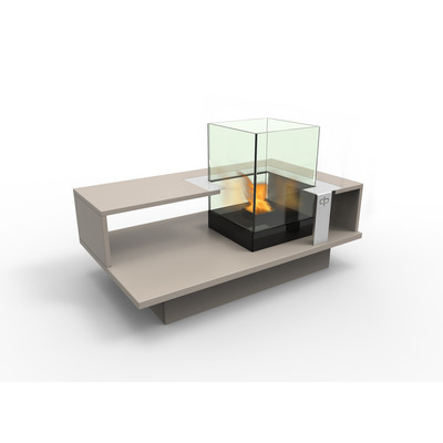 Level Compact  Indoor Bio Ethanol Coffee Table Fireburner In Latte