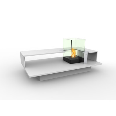 Level Indoor Bio Ethanol Coffee Table Fireburner In White