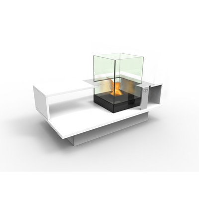Level Compact  Indoor Bio Ethanol Coffee Table Fireburner In White