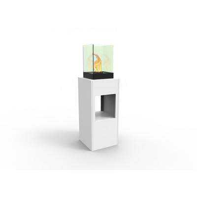 Vertikal Bio Ethanol Fireburner Stand and Display Unit In White