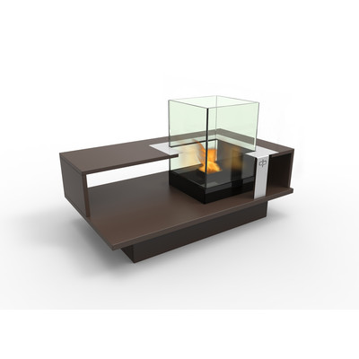 Level Compact Indoor Bio Ethanol Coffee Table Fireburner In Espresso