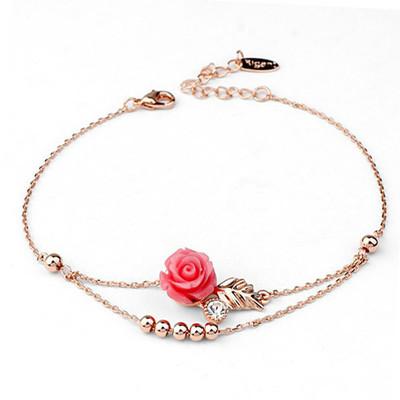 18K Gold Plated Rose Flower Anklet
