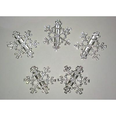 5 X Frozen Snowflake Hair Clip - White Color