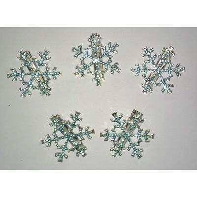 5 X Frozen Snowflake Hair Clip - Blue Color