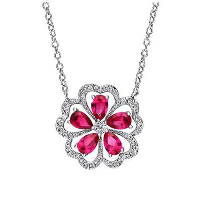 Platinum Plated Pink Flower Cubic Zirconia Pendant