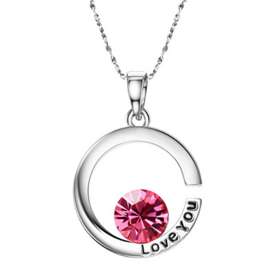 "Platinum Plated Pink Half Moon ""Love You"" Pendant"