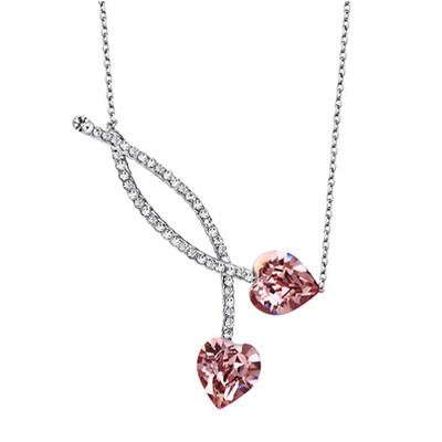 Platinum Plated Twin Hearts Choker Necklace