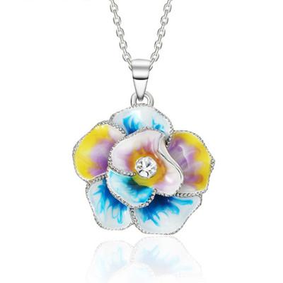 Platinum Plated Multicolor Enamel Paint Flower Pendant