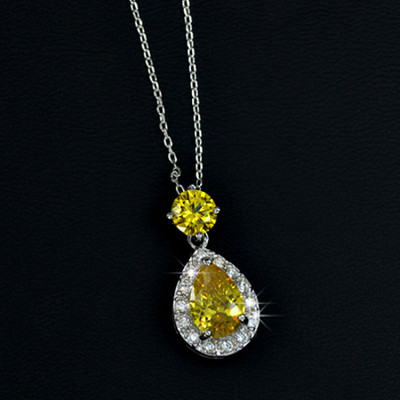 18K Gold Plated Yellow Cubic Zirconia Tear Drop Pendant
