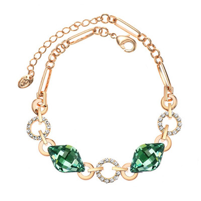 14K Gold Plated Emerald Green Austrian Crystals Bracelet
