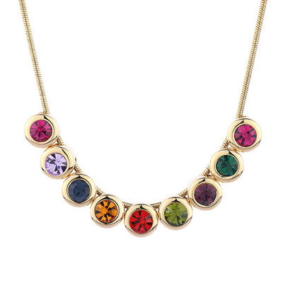 14K Gold Plated Multicolor Choker Necklace