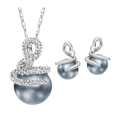 14K Gold Plated Twist Simulated Pearl Jewellery Set