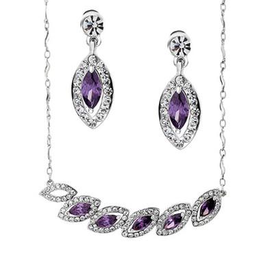 Platinum Plated Amethyst Leaf Jewellery Set