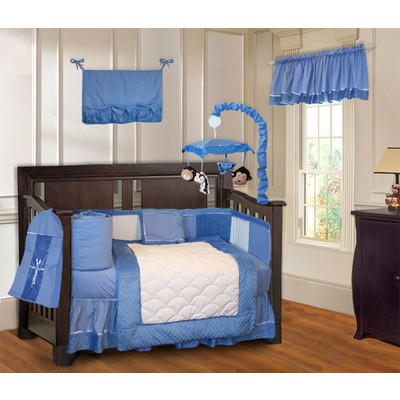 Minky Blue 10 Piece Boys Crib Bedding Set (Including Musical Mobile)