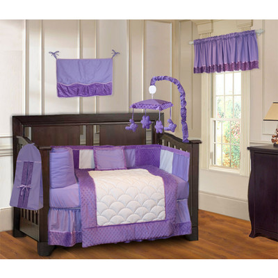 Minky Purple 10 Piece Girls Crib Bedding Set (Including Musical Mobile)