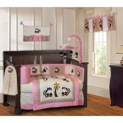 Monkey Girls 10 Piece Pink Brown Crib Bedding Set (Including Musical Mobile)