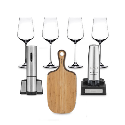 """Cuisinart Electric Wine Opener + Electric Wine Preserver + Set of 4 All Purpose/Red Wine Glasses + 8"""" x 17"""" Bamboo cutting board with helper handle"""