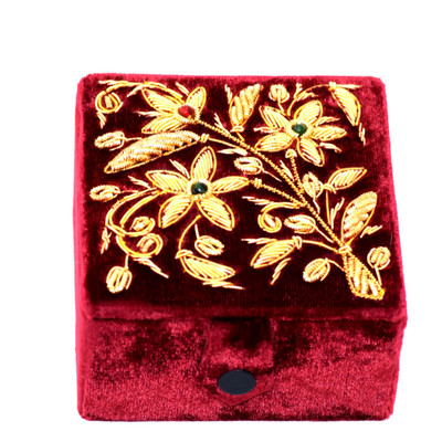 Vintage Burgundy Velvet Jewelry Box