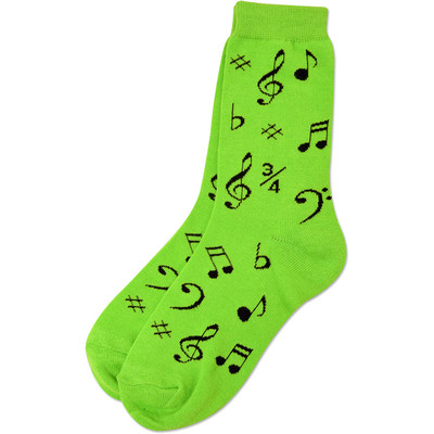 Neon Green Socks with Black Music Notes - Aim - 10016