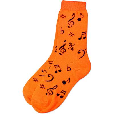 Neon Orange Socks with Black Notes - Aim - 10016B