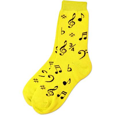 Neon Yellow Socks with Black Notes - Aim - 10016C