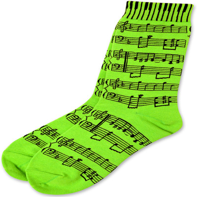 Neon Green Socks with Black Sheetmusic - Aim - 10047D