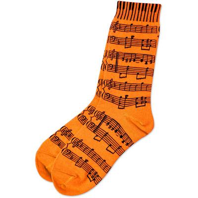 Neon Orange Socks with Black Sheetmusic - Aim - 10047E