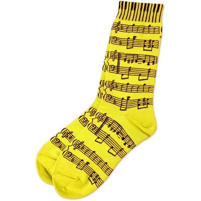 Neon Yellow Socks with Black Sheetmusic - Aim - 10047F