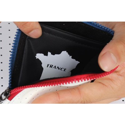 BM WORKS Road Wallet ZIP Mini France Edition - Slim and Light Artificial Perforated Leather Zipper Wallet, Cycling Wallet