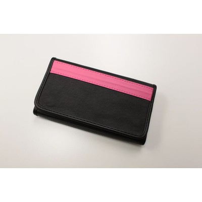 BM WORKS Road Wallet Classic Black/Pink Medium Size - Trifold Cycling Wallet with Smartphone Case & Touch Screen