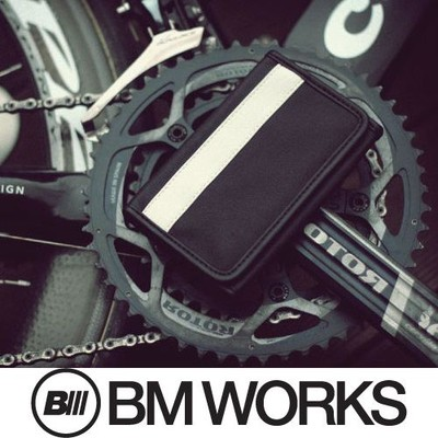 BM WORKS Road Wallet Classic Black/White Large Size - Trifold Cycling Wallet with Smartphone Case & Touch Screen