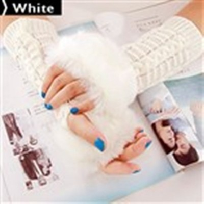 2 X Ladies Cony Hair & Knitted Half Finger Gloves - White Color