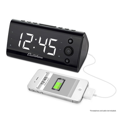 Electrohome Alarm Clock Radio with USB Charging for Smartphones & Tablets - EAAC470W (061783260555)