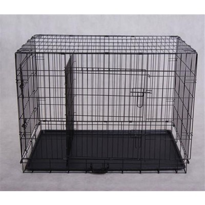 "Folding Dog Cage with Divider Two Doors Pet Cat Crate Kennel 36"" Black"