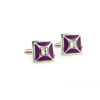 Crystal Cufflinks with Purple Color