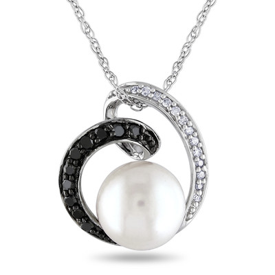 8 - 8.5mm White Freshwater Cultured Pearl and 1/7 CT TW Black and White Diamond Pendant with Chain in 10k White Gold with Black Rhodium