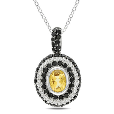 1/6 CT TW Diamond, Citrine and Black Spinel Tiered Oval Pendant with Chain in Sterling Silver with Black Rhodium