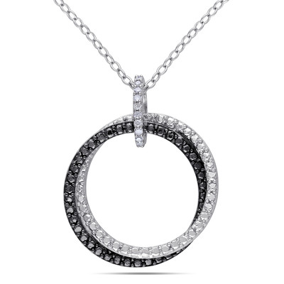 Diamond Circle Pendant with Chain in Sterling Silver with Black Rhodium