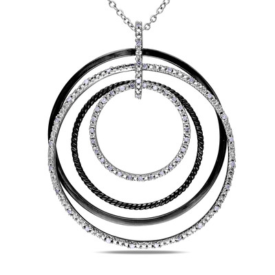 1/4 CT TW Diamond Geometric Pendant with Chain in Sterling Silver with Black Rhodium