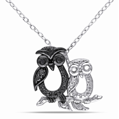 Black Diamond Owl Pendant with Chain in Sterling Silver with Black Rhodium